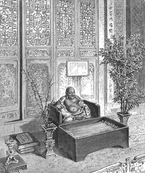 Associate Product CHINA. Domestic Altar-Smiling Buddha c1885 old antique vintage print picture