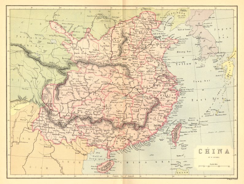 Associate Product CHINA. China c1885 old antique vintage map plan chart