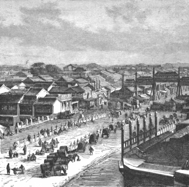 Associate Product CHINA. High Street, Beijing c1885 old antique vintage print picture
