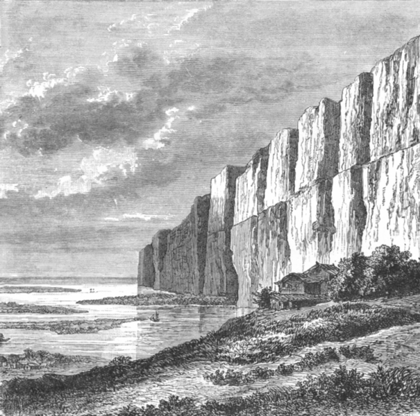 Associate Product CHINA. Cliffs of Yellow Earth, Hoang-Ho c1885 old antique print picture