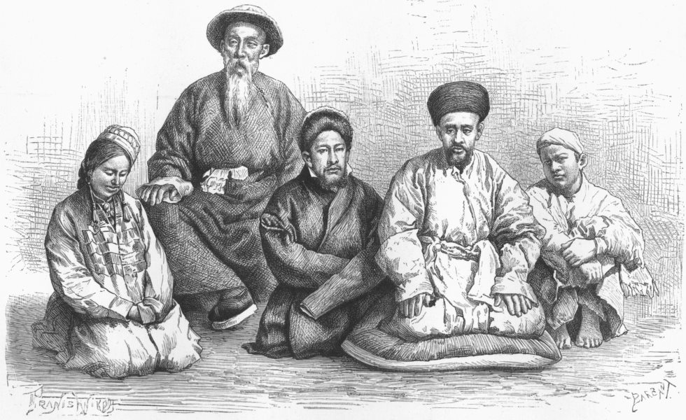 Associate Product CHINA. Dungans & Taranchis-types & costumes c1885 old antique print picture