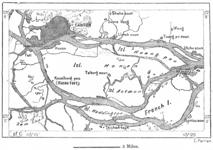 CHINA. Canton, Whampoa & Honan Island, sketch map c1885 old antique chart