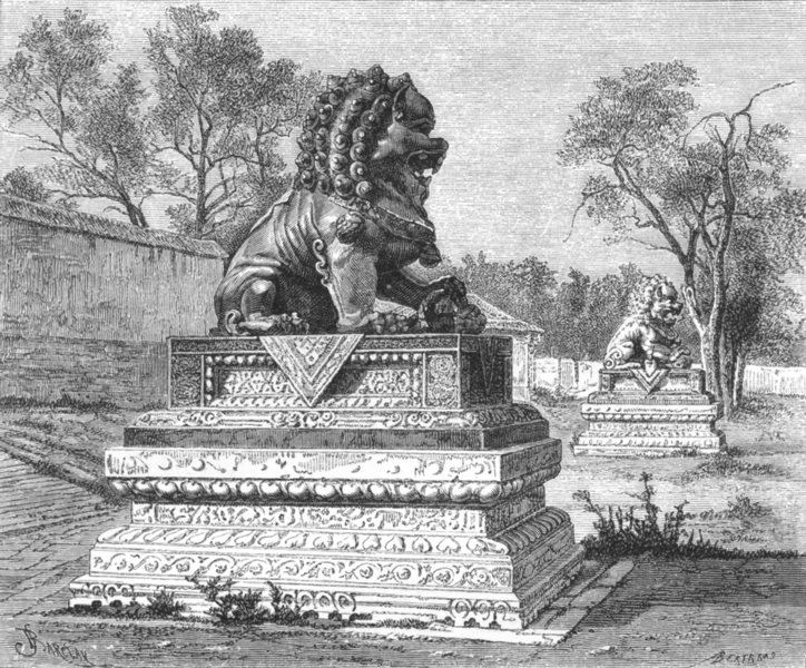 Associate Product CHINA. Summer Palace-Bronze Lions, Imperial Power c1885 old antique print
