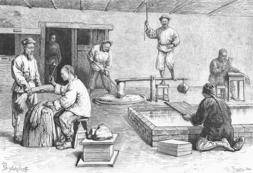 Associate Product CHINA. Paper-Mill c1885 old antique vintage print picture