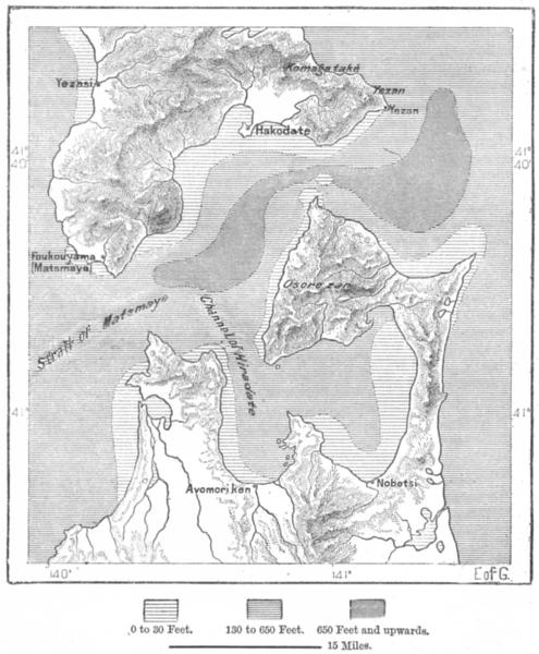 Associate Product JAPAN. Tsugar Strait, Yeso Hondo, sketch map c1885 old antique plan chart