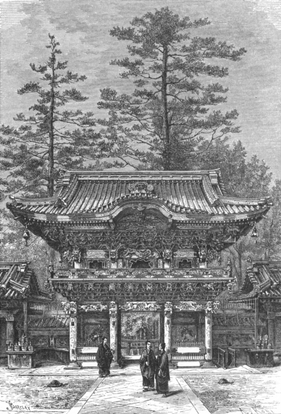 Associate Product JAPAN. Nikko-Portico of Temple 4 Dragons c1885 old antique print picture