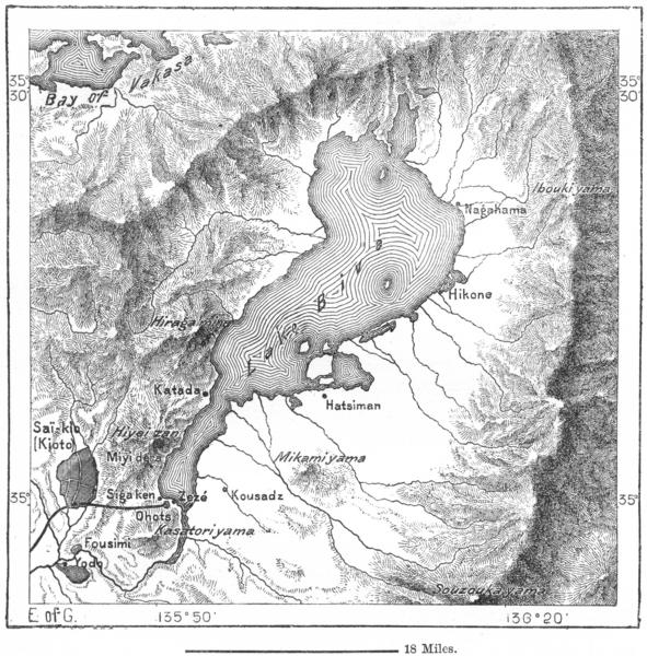 Associate Product JAPAN. Lake Biva, sketch map c1885 old antique vintage plan chart