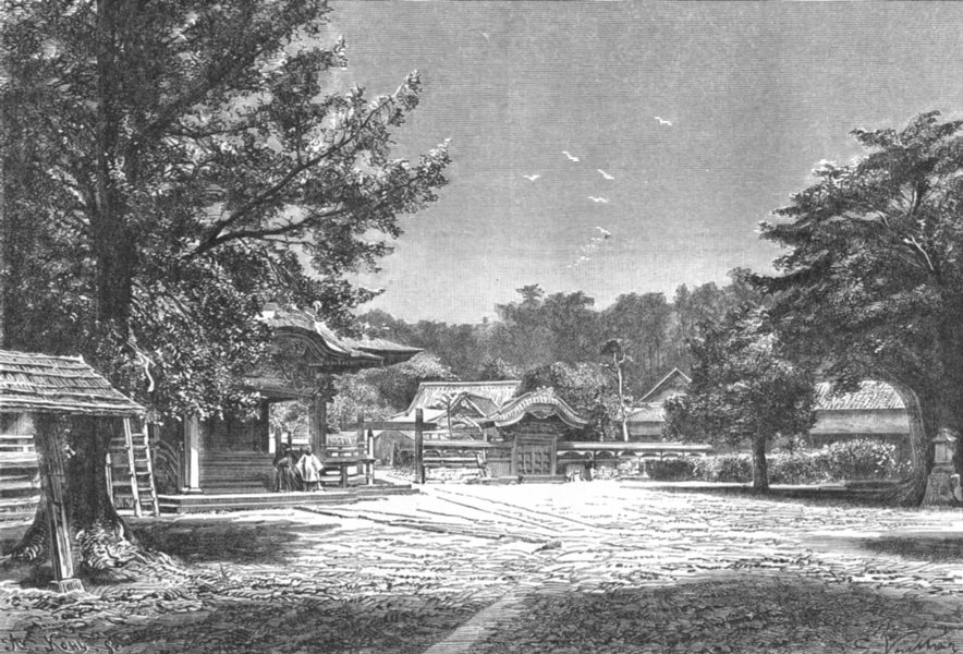 Associate Product JAPAN. Japanese Landscape-view at Fuzisava c1885 old antique print picture