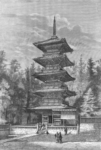 Associate Product JAPAN. Buddhist Temple at Nikko c1885 old antique vintage print picture