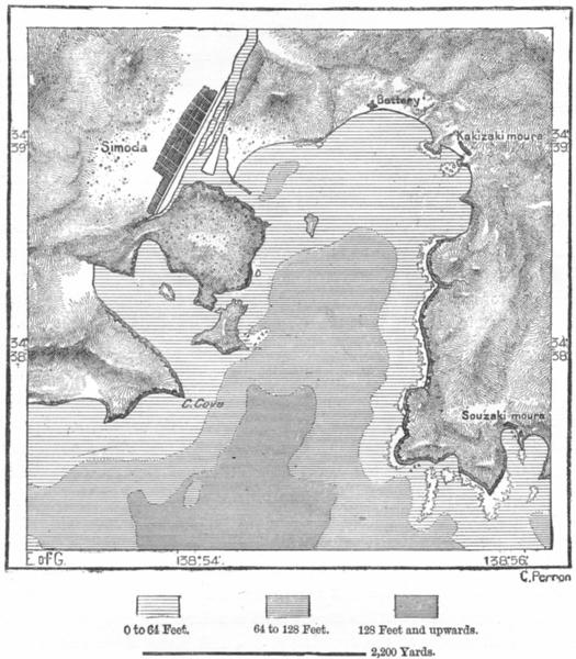 Associate Product JAPAN. Simoda Bay, sketch map c1885 old antique vintage plan chart