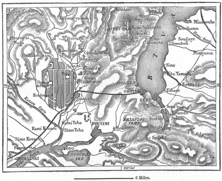 Associate Product JAPAN. Lake Biva sketch map c1885 old antique vintage plan chart