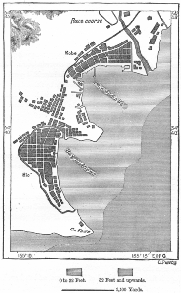 Associate Product JAPAN. Hiogo-Kob, sketch map c1885 old antique vintage plan chart