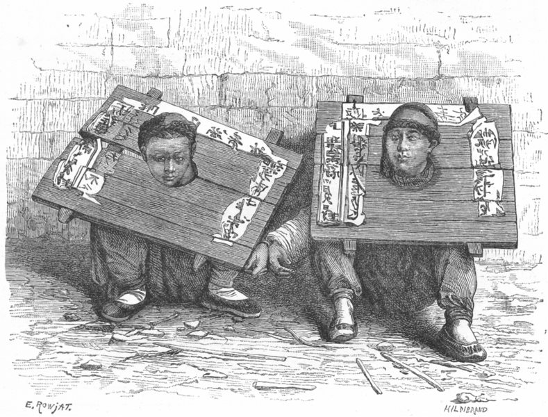 Associate Product JAPAN. Pillory in before revolution c1885 old antique vintage print picture