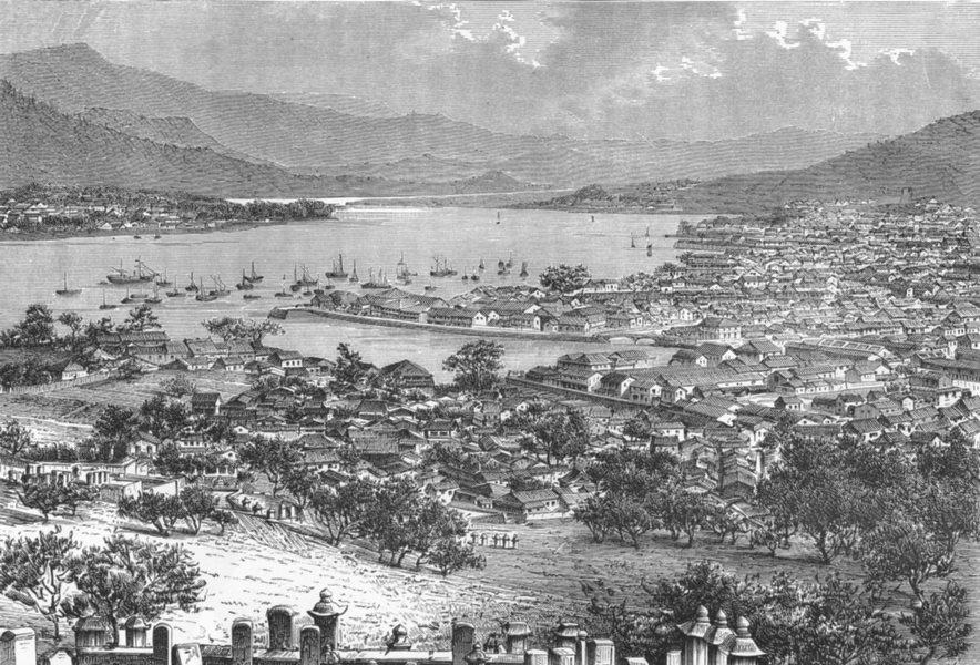 Associate Product JAPAN. Birdseye Nagasaki c1885 old antique vintage print picture