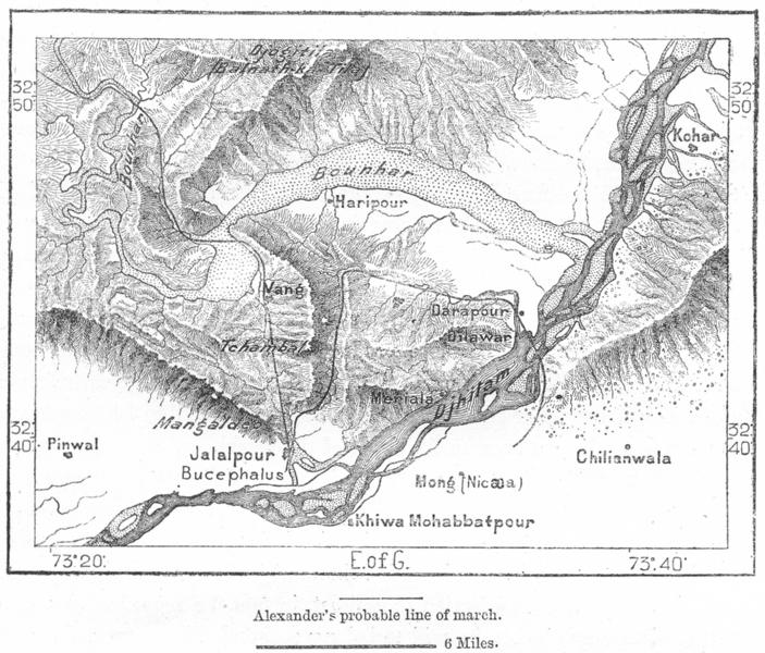 Associate Product PAKISTAN. Spot Alexander crossed Jhelum, sketch map c1885 old antique