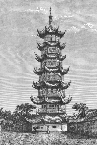 CHINA. Tower of Long-Hua, Shanghai c1885 old antique vintage print picture