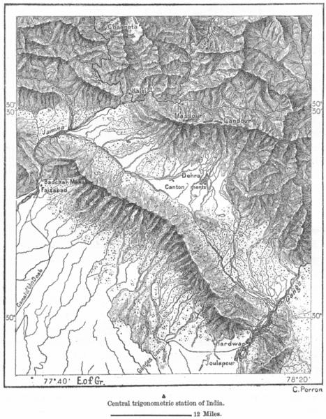 Associate Product SHIMLA. Dehra-Dun, Sivalik, gates Ganges Jamna c1885 old antique map chart