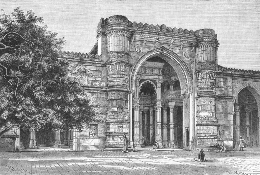 Associate Product INDIA. Gateway of Great Mosque at Ahmedabad c1885 old antique print picture