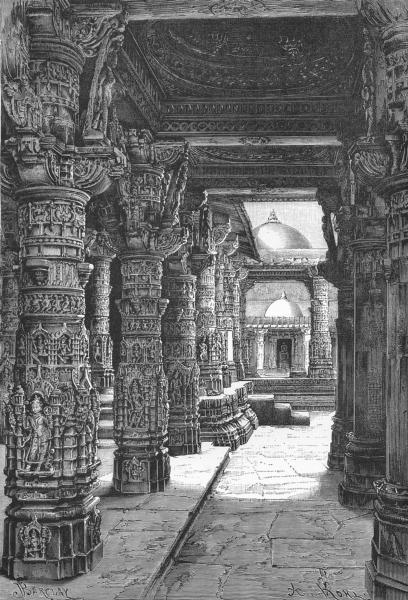 Associate Product INDIA. A Jain temple, Mount Abu c1885 old antique vintage print picture