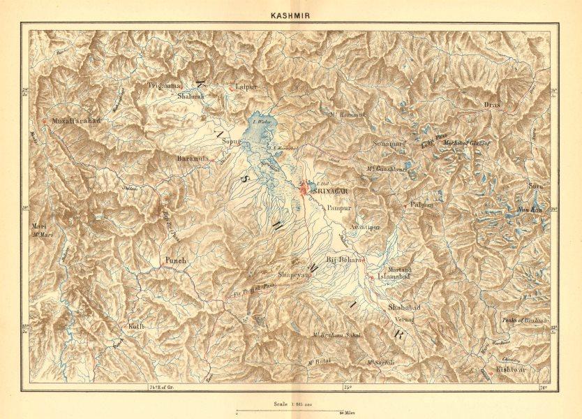 INDIA. Kashmir c1885 old antique vintage map plan chart