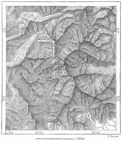 Associate Product INDIA. Darjeeling, sketch map c1885 old antique vintage plan chart