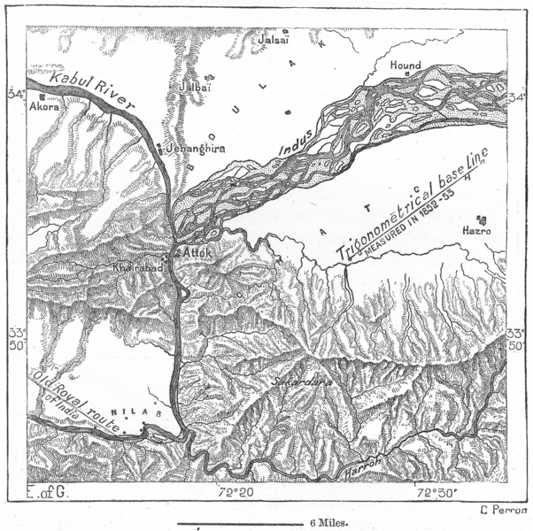 Associate Product ATTOCK. Entry of Gorge pre-railway, sketch map c1885 old antique chart