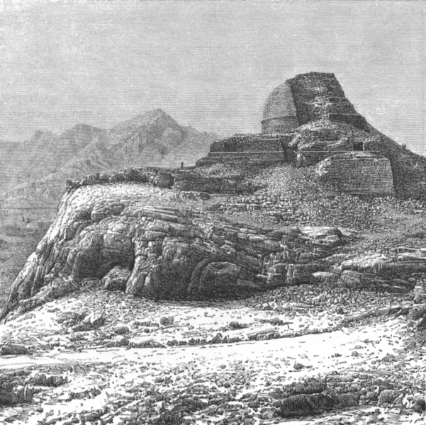 Associate Product PAKISTAN. Ruined Stupa in then Khaiber pass c1885 old antique print picture