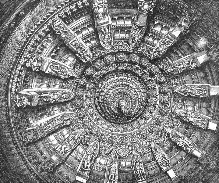 Associate Product INDIA. Mount Abu-Ceiling of a Jain Sanctuary c1885 old antique print picture