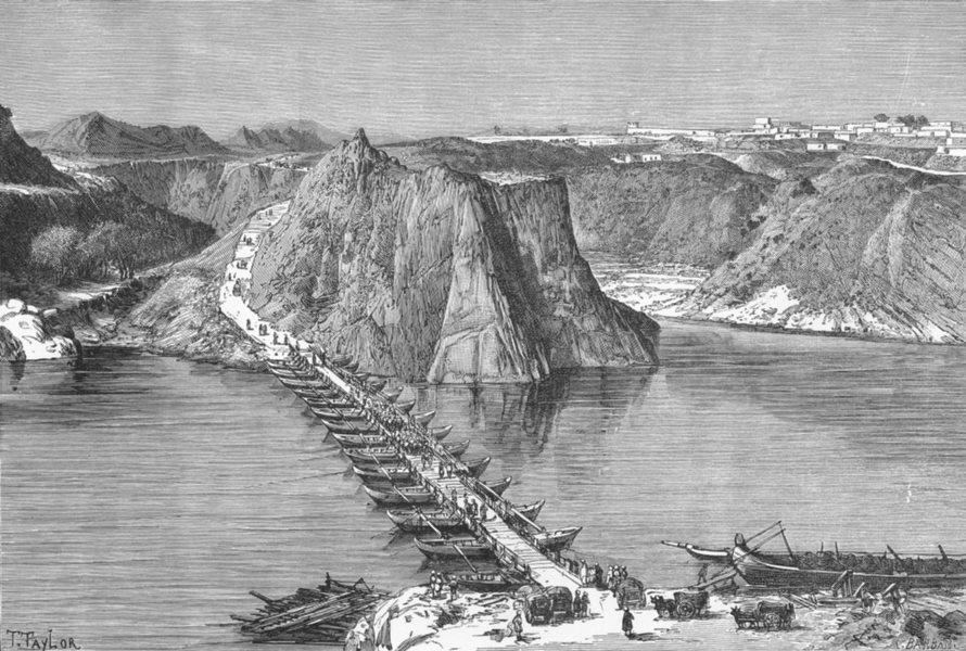 Associate Product PAKISTAN. Bridge of boats, Indus at Khushal Garh c1885 old antique print