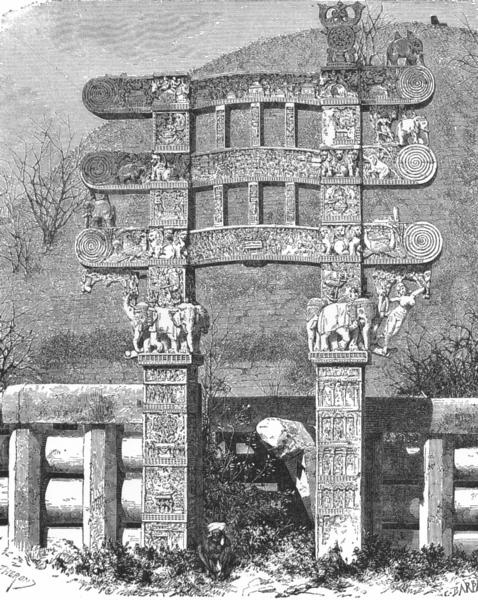 Associate Product INDIA. East gate of Sanchi Stupa c1885 old antique vintage print picture