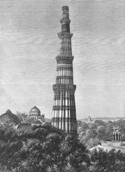 Associate Product INDIA. Area of Delhi Tower Kutab c1885 old antique vintage print picture