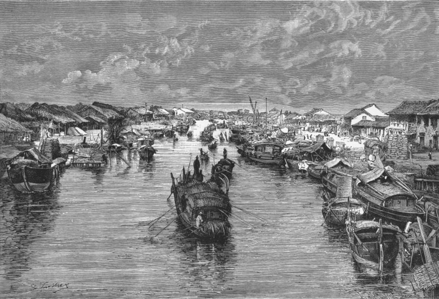 Associate Product VIETNAM. Chinese Arroyo, Saigon Confluence c1885 old antique print picture