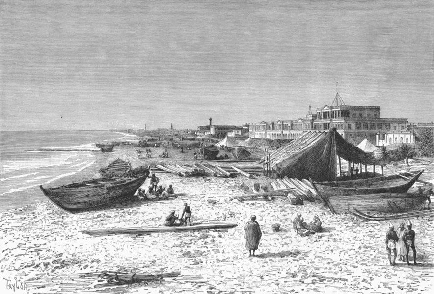 Associate Product CHENNAI. Pier construction harbour c1885 old antique vintage print picture