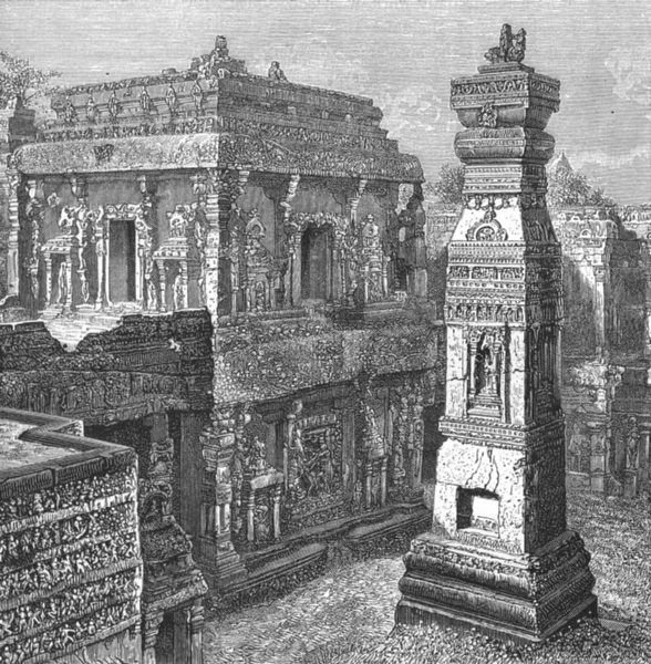 Associate Product INDIA. Ellora-Palace of Kailas c1885 old antique vintage print picture