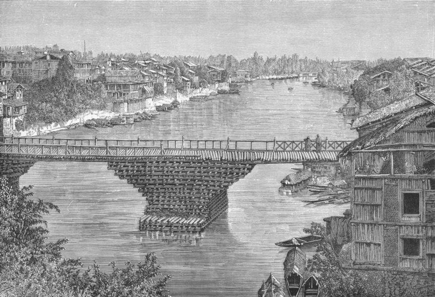 Associate Product INDIA. Srinagar bridge, Jhelum c1885 old antique vintage print picture