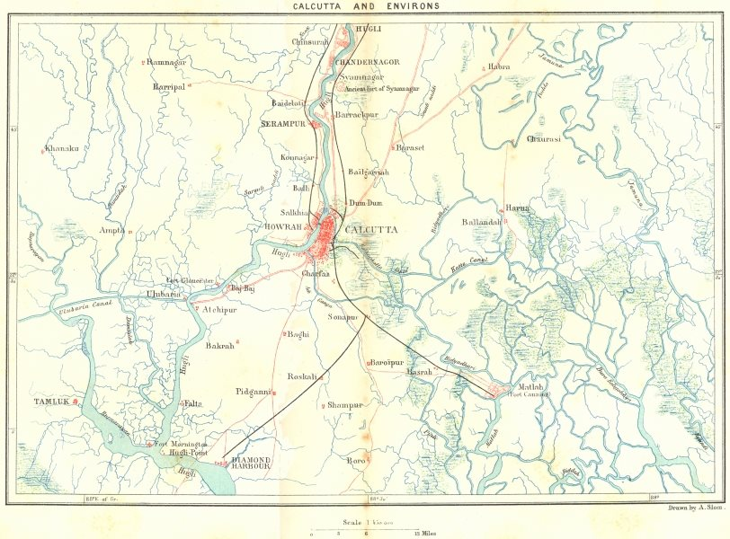 Associate Product INDIA. Kolkata & area c1885 old antique vintage map plan chart