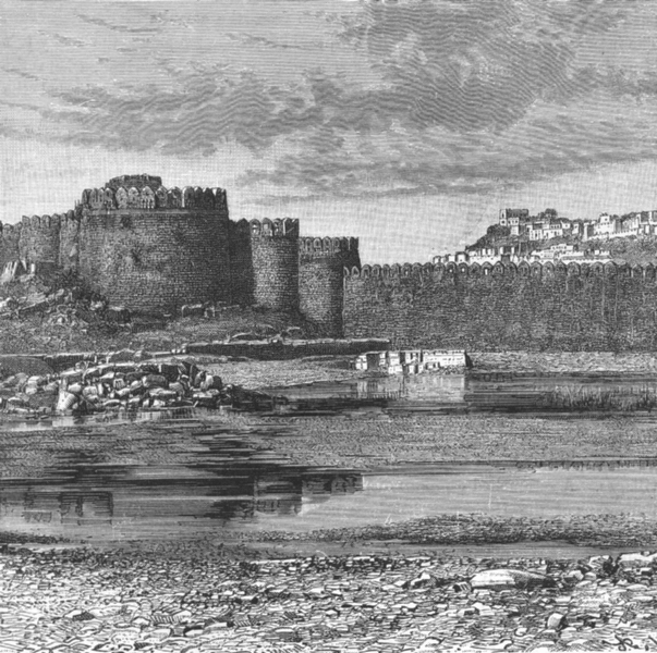 Associate Product INDIA. Golconda Ramparts of town & Citadel c1885 old antique print picture