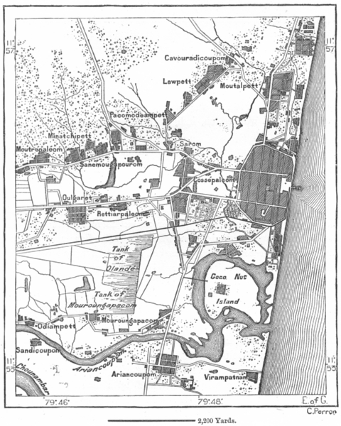 Associate Product INDIA. Puducherry, sketch map c1885 old antique vintage plan chart