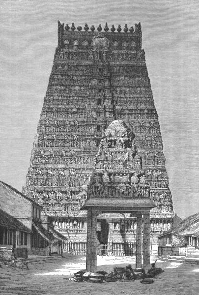 Associate Product INDIA. Kumbakonam-Chief Gopura of Temple c1885 old antique print picture