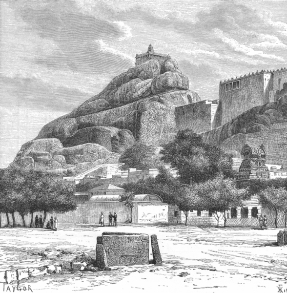Associate Product INDIA. Rock of Trichinapoli-view c1885 old antique vintage print picture