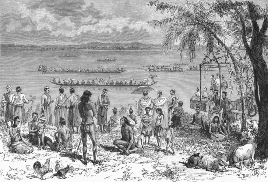 Associate Product ASIA. Boat-Racing, Mekong c1885 old antique vintage print picture
