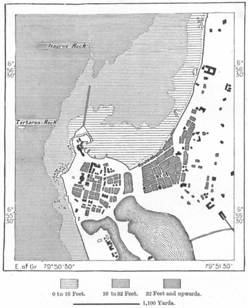 Associate Product SRI LANKA. Colombo, sketch map c1885 old antique vintage plan chart
