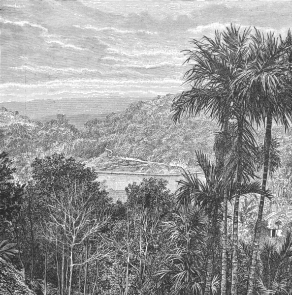 Associate Product SRI LANKA. Kandy-view opposite side of lake c1885 old antique print picture