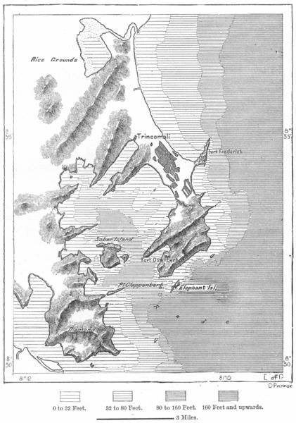 Associate Product SRI LANKA. Trincomali, sketch map c1885 old antique vintage plan chart