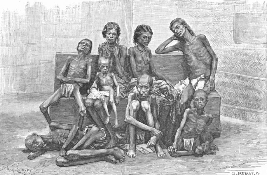Associate Product INDIA. Famine Victims c1885 old antique vintage print picture