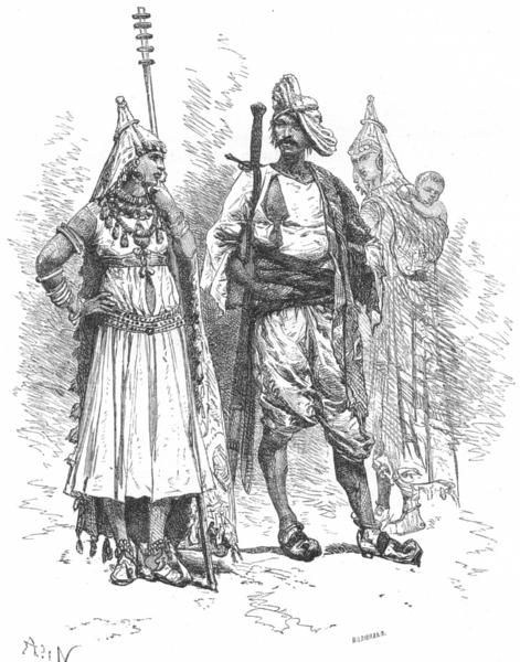 Associate Product INDIA. Types & Costumes-Banjari men & Women c1885 old antique print picture