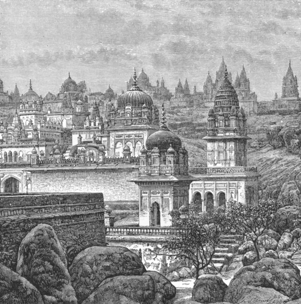 Associate Product INDIA. Jain Temples, Sunagarh c1885 old antique vintage print picture