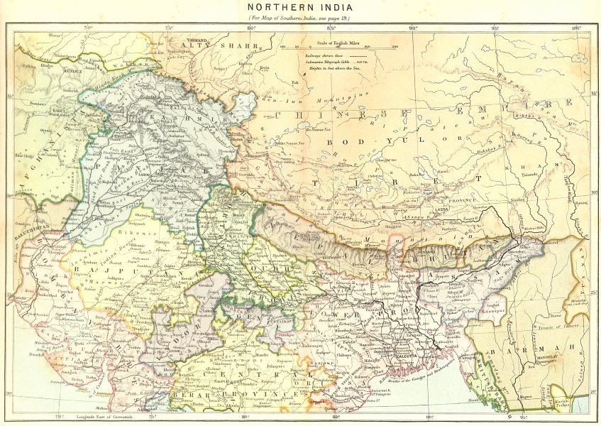 Associate Product INDIA. North c1885 old antique vintage map plan chart