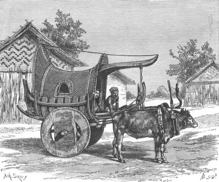 Associate Product BURMA. Burmese wagon c1885 old antique vintage print picture