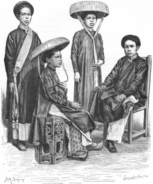 Associate Product VIETNAM. Annamese village Chiefs & Women c1885 old antique print picture